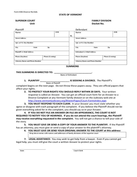 summons vermont judiciary free download