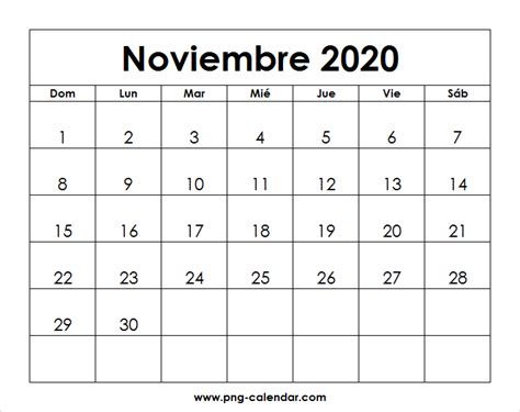 noviembre calendario imprimir spanish calendar
