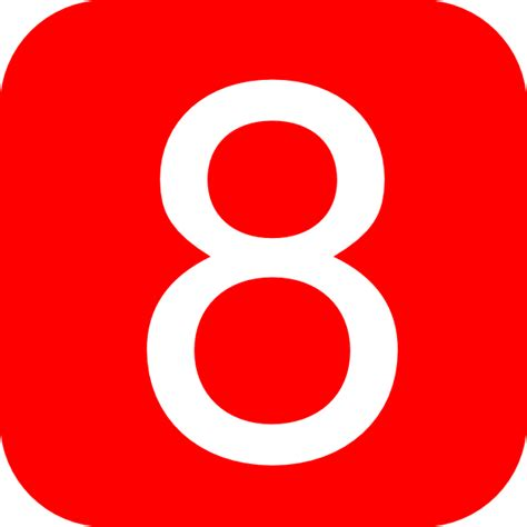 Red, Rounded, Square With Number 8 Clip Art At Clkercom