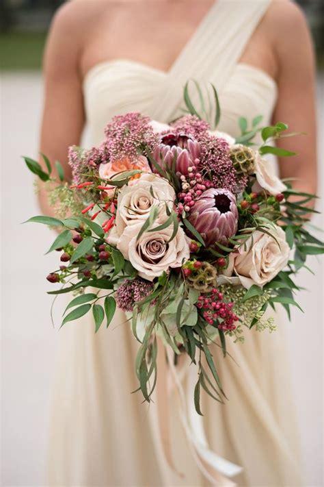 tropical king protea wedding bouquets ideas