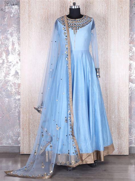 raw silk sky blue anarkali suit indian designer outfits