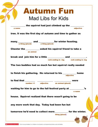mad libs printable for fall worksheets printables scholastic parents