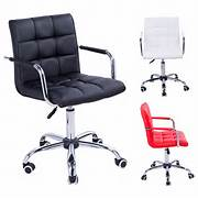 Adjustable Height Office Chair With Wheels by Swivel Office Chair PU Leather Adjustable Computer Desk Armchair High Back Wh