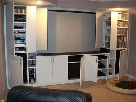 woodwork cabinetry entertainment center basement