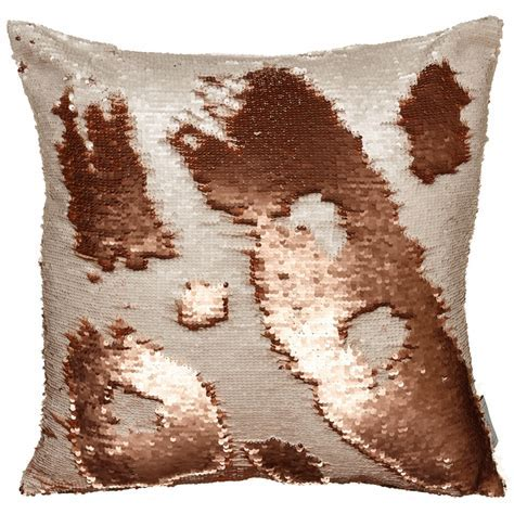 Reversible Sequin Cushion 48 x 48cm   Copper & Cream
