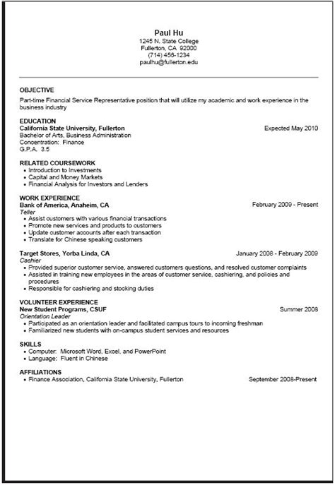 Part Time Resume by Part Time Resume Sle Projects To Try