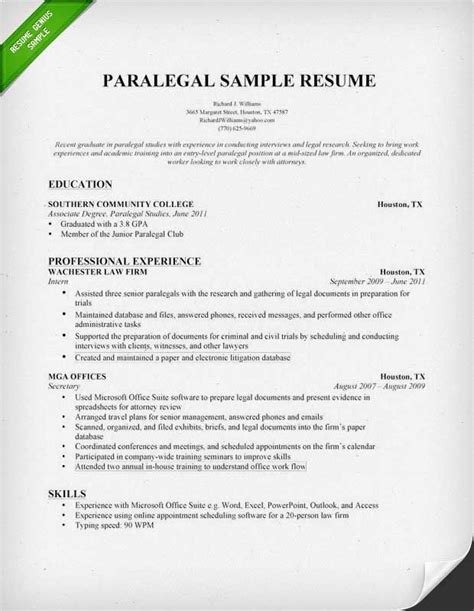 entry level paralegal resume sles paralegal sle