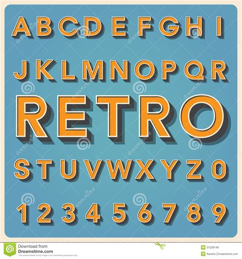 retro type font vintage typography royalty free stock photos image 31228148