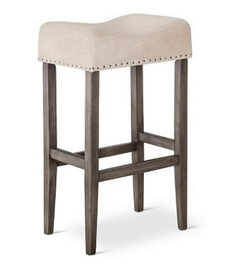 Wood Counter Stools - wooden linen saddle pub chair 29 quot bar counter stool