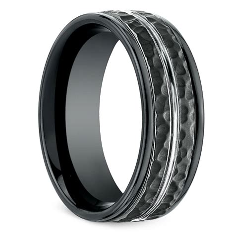 hammered s wedding ring in blackened cobalt