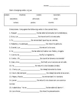 stem changing verbs worksheet o gt ue by chelsi