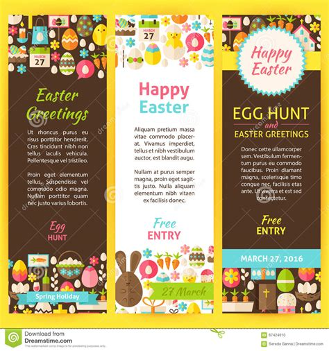 Happy Easter Vector Party Invitation Flyer Set Stock