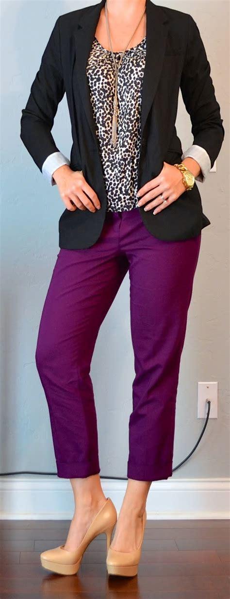 Outfit post black blazer polkadot blouse purple cropped pant