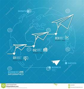 Business Diagram Paper Airplanes Line Style Template   Stock Vector