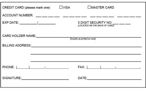 credit card form 5 credit card form templates formats exles in word excel