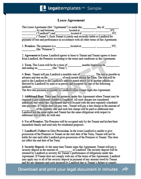 lease contract template residential lease agreement form free rental agreement templates