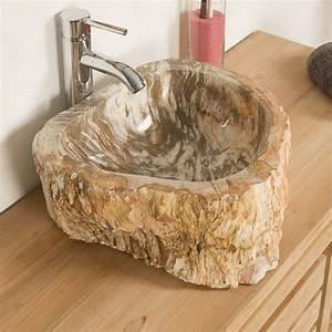 Salle De Bain En L : lavabo de salle de bain en bois p trifi fossilis noir l 37 cm ~ Melissatoandfro.com Idées de Décoration