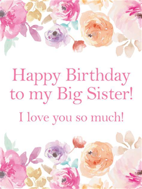 pink flower happy birthday card  sister birthday