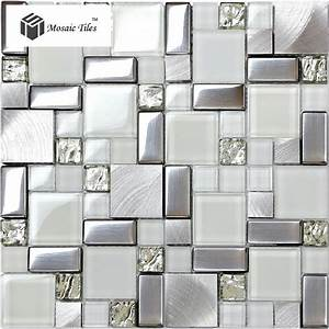 Tst glass metal tile frosted glass silver steel glitter for Kitchen colors with white cabinets with brushed aluminum wall art