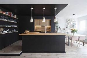 Cuisine Beige Et Bois : une cuisine noire et bois au coeur d 39 une r novation ~ Dailycaller-alerts.com Idées de Décoration