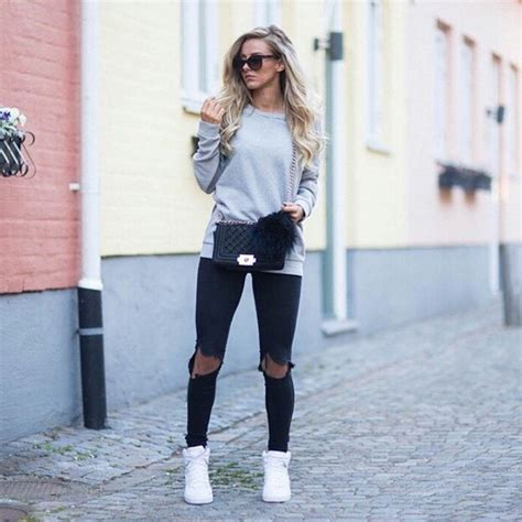 Black denim fashion girl gray outfit purse ripped jeans sneakers sunglasses sweater ...