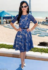 Katy Perry looks electric in embroidered blue dress as she ...