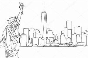 Free hand sketch of New York City skyline. Vector Scribble ...