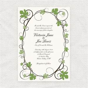 grape vine wedding invitation printable file With la d vine wedding invitations
