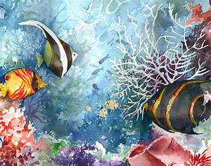 Underwater Tropical Fish Painting by Beth Kantor
