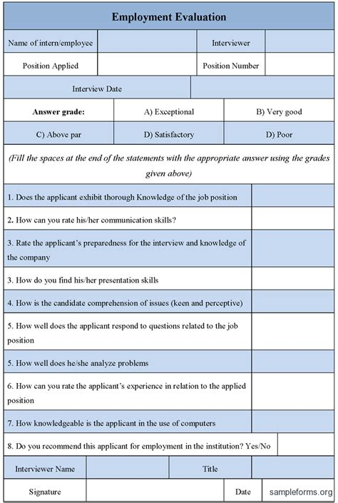 evaluation form employment evaluation form sle forms