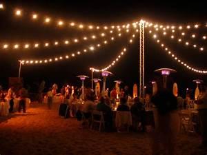 Beach String Lights from Freestanding Truss Tower - Bella