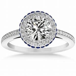 diamond halo engagement ring blue sapphire accents With wedding rings with sapphire accents