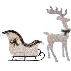 knlstore 2pc pvc vine lighted 52 reindeer buck deer 40 santa sleigh ride clear lights christmas