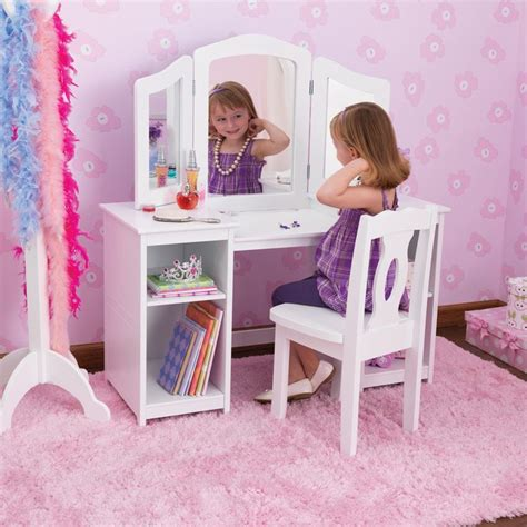 girls white vanity table kidkraft deluxe dressing table chair in white costco