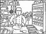 Baker Boulanger Kiddicolour Bakt Boulangerie Kiddikleurprenten Kleurprenten Koken Kiddicoloriage Brood Kiddi 01k Kleurprent sketch template