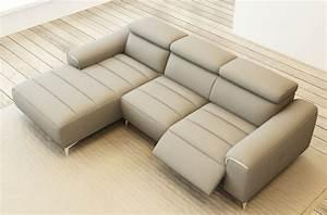 Canapé Gris Cuir : canap d 39 angle fonction relax en cuir italien 5 places serenity gris clair mobilier priv ~ Teatrodelosmanantiales.com Idées de Décoration