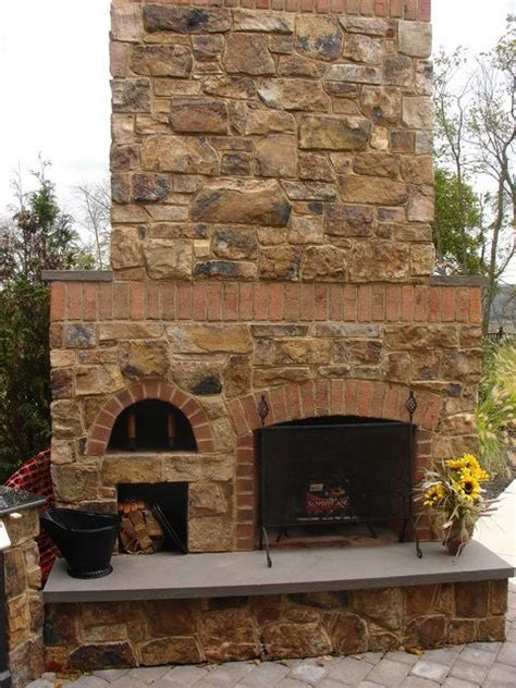 stone  brick combo outdoor fireplaces fireplaces