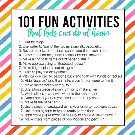 101 Fun + Easy Activities kids can do AT HOME It's