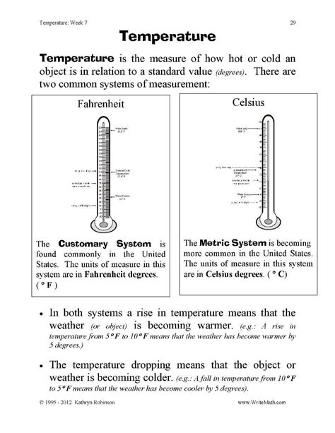 teaching temperature worksheets 3rd 4th 5th grade