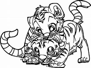 Two Baby Tiger Coloring Page Wecoloringpagecom