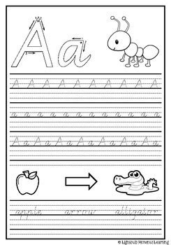 vic modern cursive handwriting practice sheets letter aa