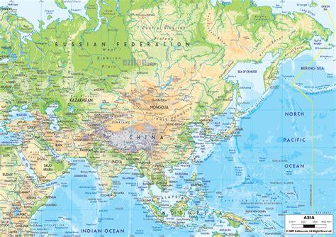 physical map  asia ezilon maps
