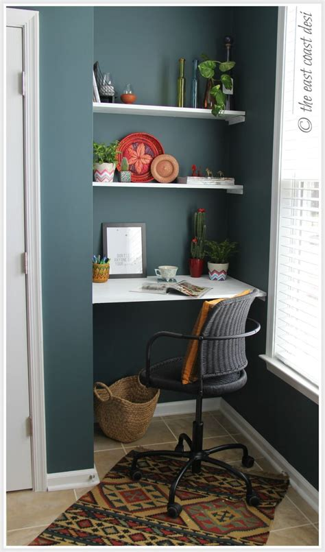 desk ideas for small spaces niche converted to a mini working desk diy shelves under