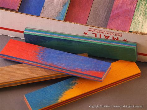 wood strips for laminating dyed wood laminate scraps small strips from nestledfeathersshop on etsy studio
