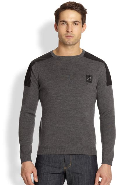 mens patch sweater versace wool shoulder patch sweater in gray for