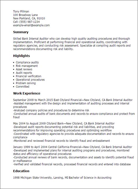 Auditor Resume Exle by Auditor Resume Format Resume Format