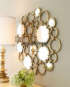 "NEW Neiman Marcus METAL 36"" Gold Mirror Ring Circles Wall"