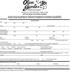 olive garden careers olive garden application employment form