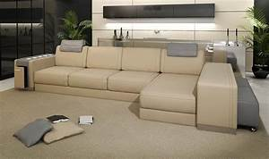 Ashley modern leather sectional sofa with built in light for Modern black leather sectional sofa with built in light