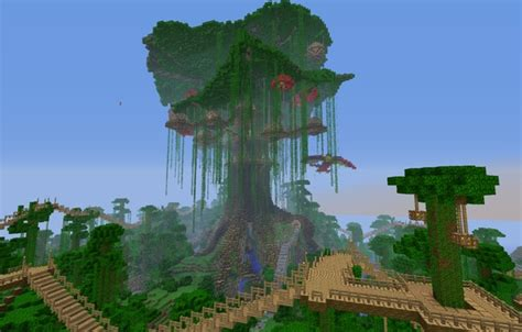 Wallpaper Bridge, Jungle, Tree, Minecraft, House, The Sky